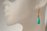 14K Gold Earrings with Peruvian Amazonite Briolette Drops - riccoartjewelry.com  - 2