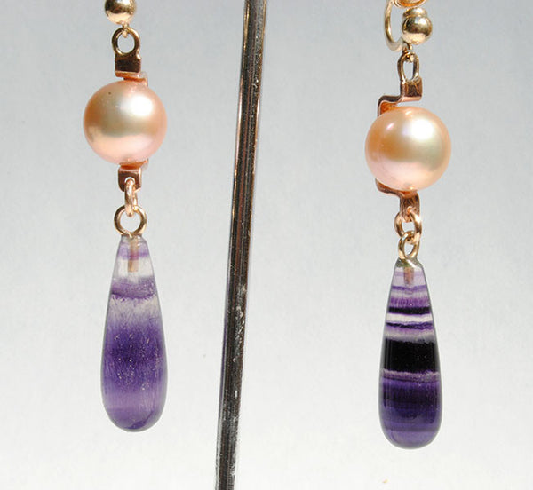 18K Rose Gold Drop Earrings - riccoartjewelry.com  - 1