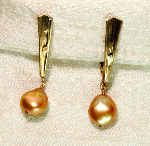 14K Gold Artisan OOAK Drop Pearl Earrings