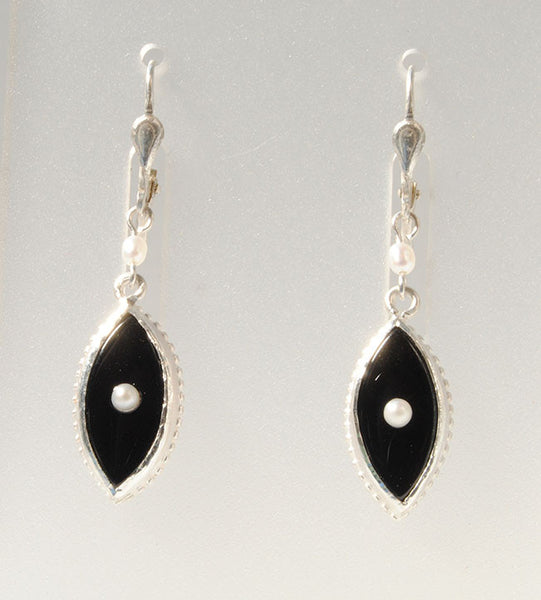 Black Onyx with Seed Pearls Earrings - riccoartjewelry.com  - 1
