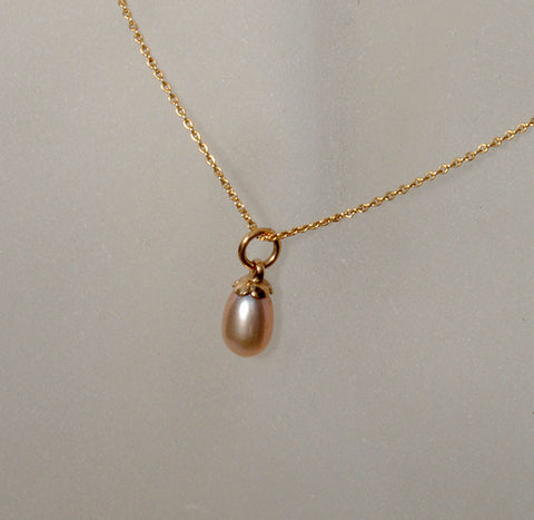 14K Gold Pendant with Drop Pearl - riccoartjewelry.com