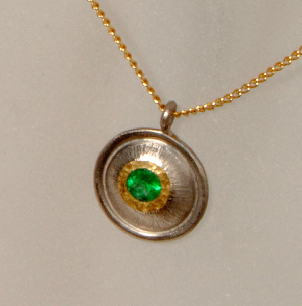 18K Gold Pendant with Emerald - riccoartjewelry.com  - 2