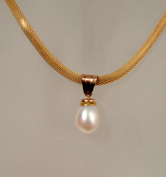 18K Gold Pendant with Pearl - riccoartjewelry.com  - 1