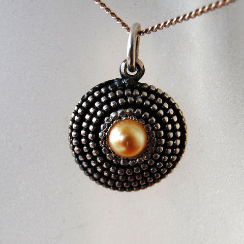 Beaded Pendant with Pearl - riccoartjewelry.com  - 1