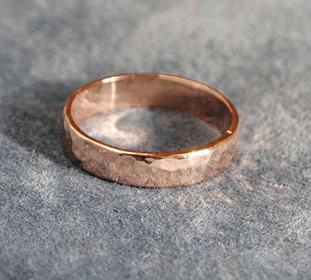 14K Rose Gold Band  Hammered Texture - riccoartjewelry.com  - 1
