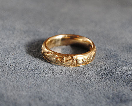 14K Yellow Gold Textured Band Original Design - riccoartjewelry.com  - 1