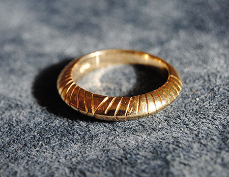 18K Yellow Gold Grooved Dome Designer Band - riccoartjewelry.com  - 2