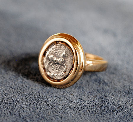 14K Ancient Coin Ring with Horse - riccoartjewelry.com  - 1