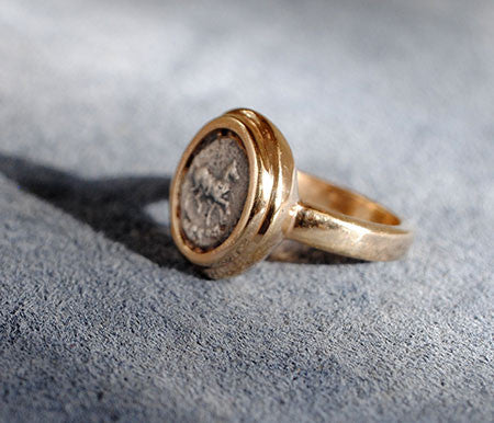 14K Ancient Coin Ring with Horse - riccoartjewelry.com  - 2