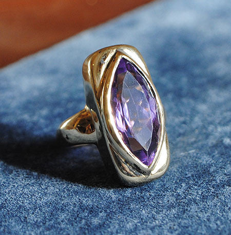 14K Gold Ring with Amethyst Marquise - riccoartjewelry.com - 1
