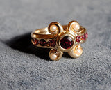 14K Antiquity Inspired Ring with Garnets and Seed Pearls - riccoartjewelry.com  - 1