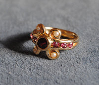 14K Antiquity Inspired Ring with Garnets and Seed Pearls - riccoartjewelry.com  - 2