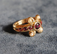 14K Antiquity Inspired Ring with Garnets and Seed Pearls - riccoartjewelry.com  - 3