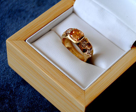 18K Gold Ring Diamond and  Imperial Topaz Ring - riccoartjewelry.com  - 3
