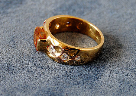 18K Gold Ring Diamond and  Imperial Topaz Ring - riccoartjewelry.com  - 4