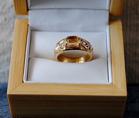 18K Gold Ring Diamond and  Imperial Topaz Ring - riccoartjewelry.com  - 5