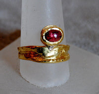 22K Gold Ring with Ruby Cabochon - riccoartjewelry.com  - 1