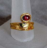 22K Gold Ring with Ruby Cabochon - riccoartjewelry.com  - 5