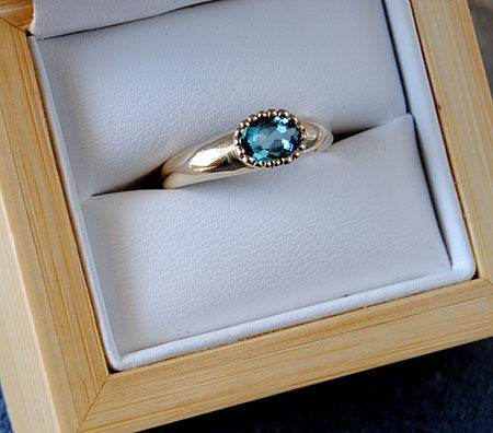 14K Gold Ring with Blue Tourmaline - riccoartjewelry.com  - 4