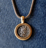 14K Ancient Coin Pendant Goddess Tyche - riccoartjewelry.com  - 1