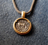 14K Ancient Coin Pendant Goddess Tyche - riccoartjewelry.com  - 3