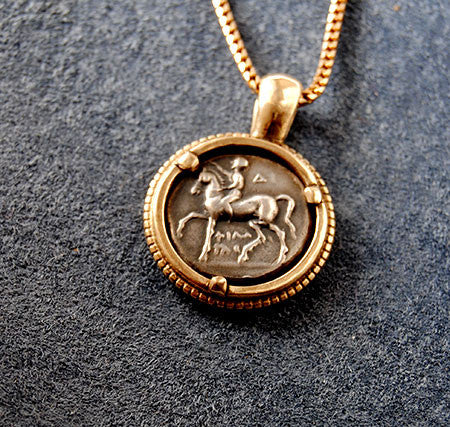 14K Ancient Coin  Pendant Horse and Rider - riccoartjewelry.com - 1