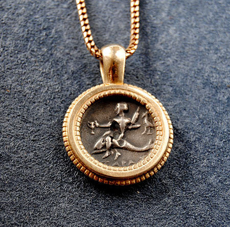 14K Ancient Coin  Pendant Horse and Rider - riccoartjewelry.com  - 2