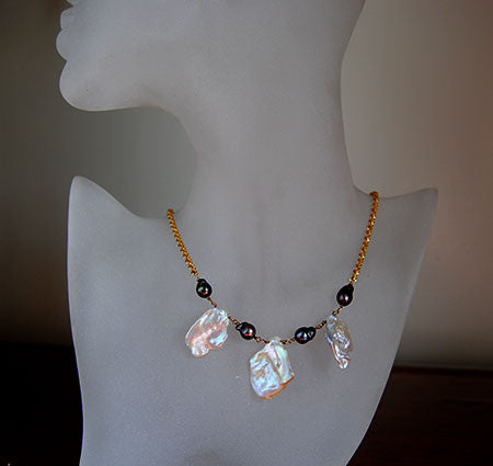 14K Necklace with Keshi Pearl - riccoartjewelry.com  - 1