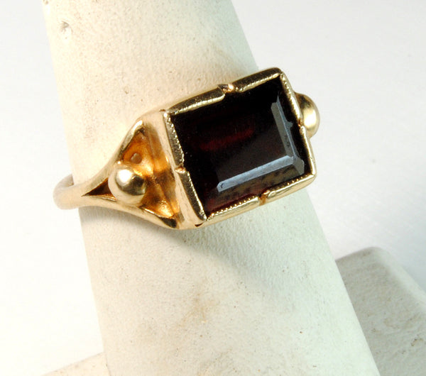 14K Gold Classic Ring with Garnet - riccoartjewelry.com  - 3