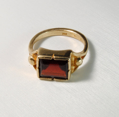 14K Gold Classic Ring with Garnet - riccoartjewelry.com  - 1