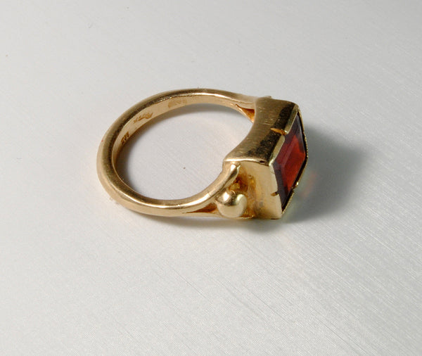 14K Gold Classic Ring with Garnet - riccoartjewelry.com  - 2