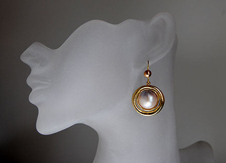18K Drop Earrings with Mabe Pearls - riccoartjewelry.com  - 2