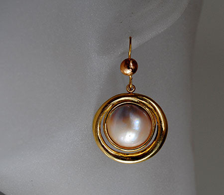 18K Drop Earrings with Mabe Pearls - riccoartjewelry.com  - 1