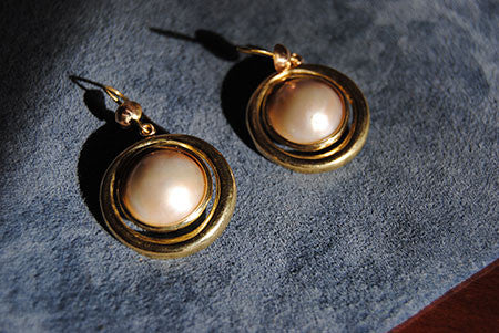 18K Drop Earrings with Mabe Pearls - riccoartjewelry.com  - 3