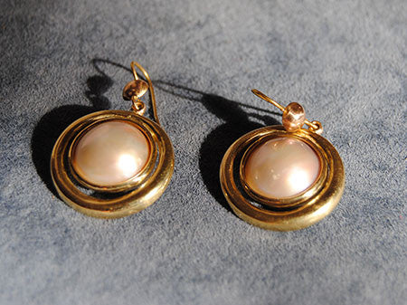 18K Drop Earrings with Mabe Pearls - riccoartjewelry.com  - 4