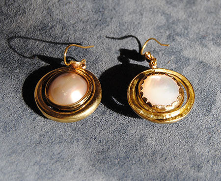 18K Drop Earrings with Mabe Pearls - riccoartjewelry.com  - 5