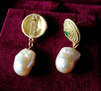 18K Gold Earrings with Emeralds and Baroque Keshi Pearls - riccoartjewelry.com  - 3