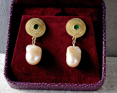18K Gold Earrings with Emeralds and Baroque Keshi Pearls - riccoartjewelry.com  - 1