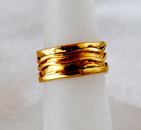 22K Gold Wide Band Ring - riccoartjewelry.com  - 1