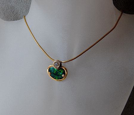 18K Gold Pendant with Diamond and Australian Opal - riccoartjewelry.com  - 1