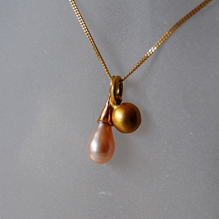 22K Seed and Drop Pearl Pendant Petite - riccoartjewelry.com  - 2