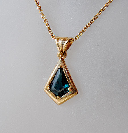 14K Gold Pendant with Tourmaline - riccoartjewelry.com  - 2