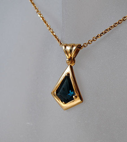 14K Gold Pendant with Tourmaline - riccoartjewelry.com  - 1