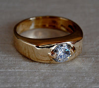 Men's Ring with One Carat Diamond Custom Order - riccoartjewelry.com  - 1