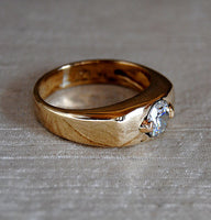 Men's Ring with One Carat Diamond Custom Order - riccoartjewelry.com  - 2