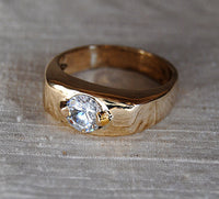 Men's Ring with One Carat Diamond Custom Order - riccoartjewelry.com  - 3
