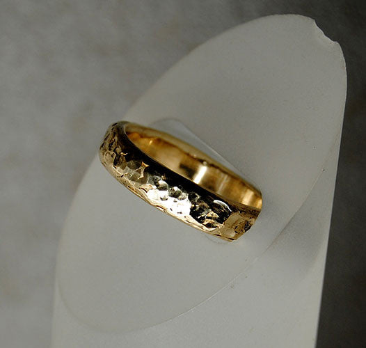 14K Gold Textured Men's Ring - riccoartjewelry.com  - 1