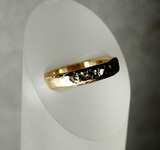 14K Gold Textured Men's Ring - riccoartjewelry.com  - 2