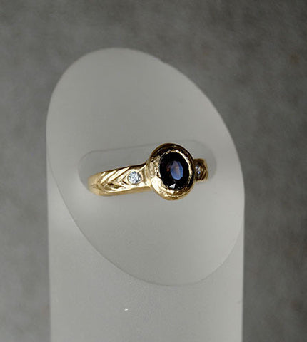 14K Gold Ring with Diamonds and Spinel - riccoartjewelry.com  - 1