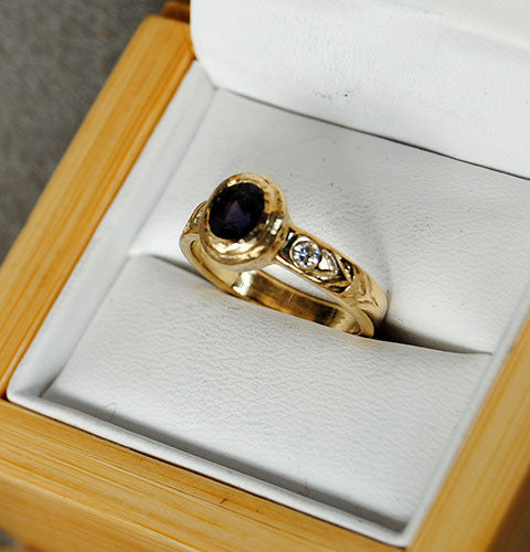 14K Gold Ring with Diamonds and Spinel - riccoartjewelry.com  - 4
